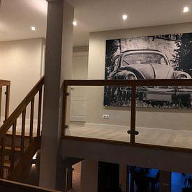 Klantfoto: Zwart-witte foto van een VW-kever van Edith Albuschat, als print op doek