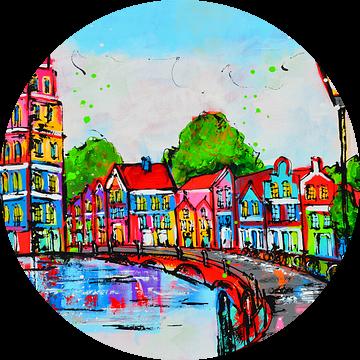Huizen bij het water van Vrolijk Schilderij
