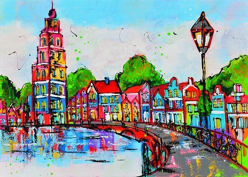 Häuser am Wasser von Vrolijk Schilderij