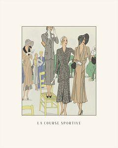 La course sportive | Historische mode prent | vintage Art Deco fashion advertentie