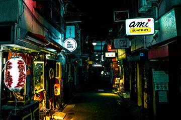 Donker steegje in Tokyo met verlichting langs de huizen. van Mickéle Godderis