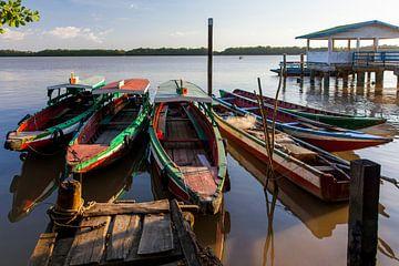 Boote auf dem Fluss Suriname, Suriname von Marcel Bakker