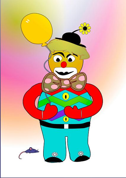 Kinderzimmerbild  -  Clown mit Luftballon von Roswitha Lorz
