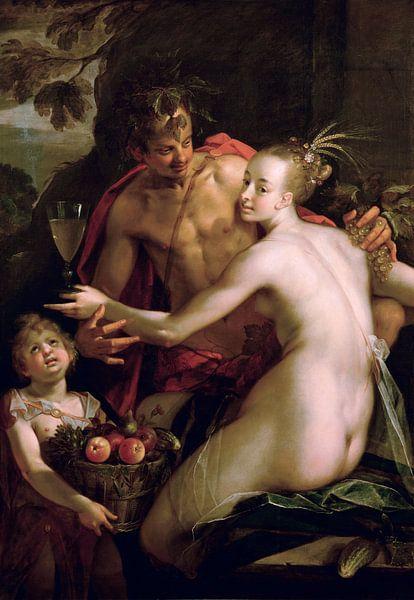 Hans von Aachen.Bacchus, Ceres und Amor von 1000 Schilderijen