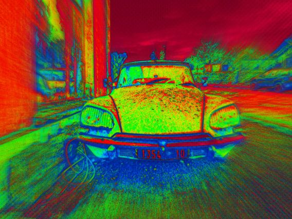auto, Citroën DS in felle kleuren van Yvonne Blokland