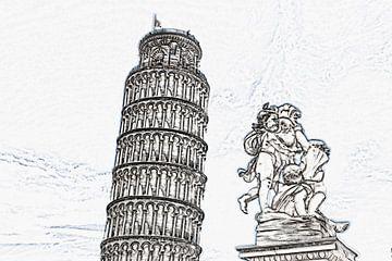 De scheve toren van Pisa, Italië van Gunter Kirsch