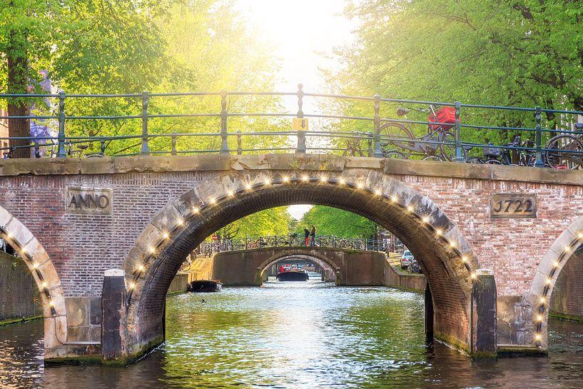 Amsterdamse bruggen in de lente van Dennis van de Water
