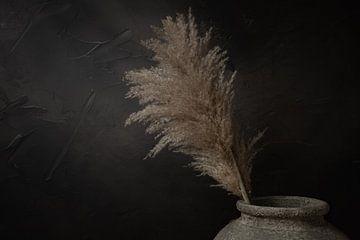 Stilleven met pampas riet pluimen in grijze stenen kruik van Mayra Pama-Luiten