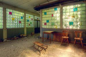 Verlassener Schlitten in Kindertagesstätte
