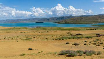 Verlaten meer in Mongolië van Job Moerland