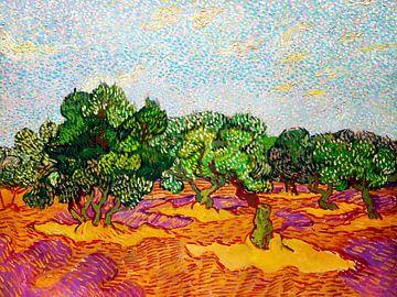 Olijfbomen met blauwe lucht - Vincent van Gogh - 1889 van Jan Willem van Doesburg
