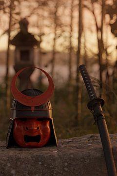 Antiker Samurai Helm neben dem Katana Schwert im wunderschönen Abendlicht von Besa Art