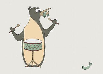 Drummende Pinguin Illustratie von Dennis Michels