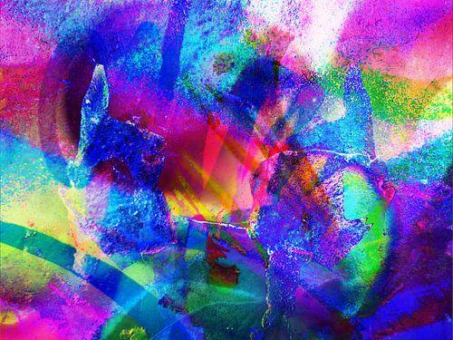 Modern, Abstract kunstwerk - Lick The Rainbow van