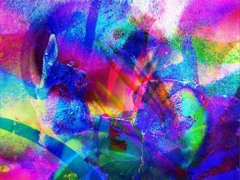 Modern, Abstract kunstwerk - Lick The Rainbow van Art By Dominic