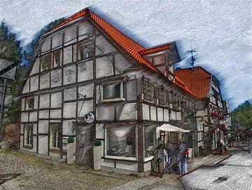 Recklinghausen Buntstiftzeichnung van Edgar Schermaul