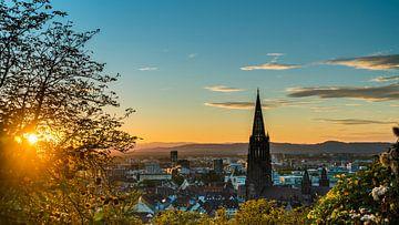 Freiburg im Breisgau Skyline bij zonsondergang in de zomer van Simon Dux