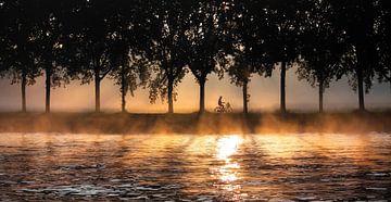 Fietser in ochtendlicht van Isabelle Cornet