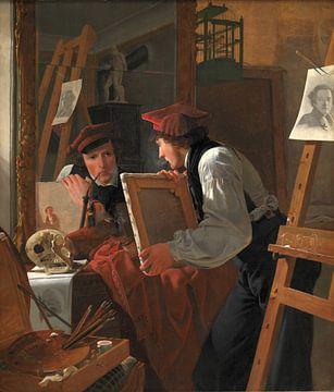 Wilhelm Bendz, Ein junger Künstler (Ditlev Blunck) untersucht eine Skizze in einem Spiegel - 1826