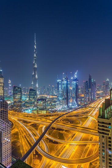 Dubai by Night - Burj Khalifa en Downtown Dubai - 4 van Tux Photography