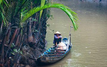 Schuilen voor de regen, Mekong delta, Vietnam van Rietje Bulthuis