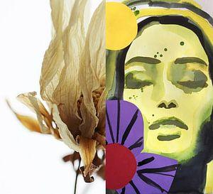 Flora Collage Summer Breeze van Helia Tayebi Art