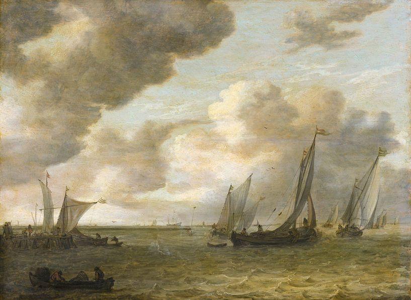 Mündung mit Segelbooten, Jan van Goyen von Meesterlijcke Meesters
