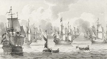 Zeegezicht met oorlogsvloot , Cornelis Ploos van Amstel (1821) van Atelier Liesjes