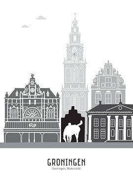 Skyline illustratie stad Groningen zwart-wit-grijs van Mevrouw Emmer