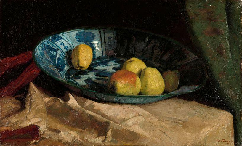 Stilleben mit Äpfeln in einer Delfter blauen Schale, Willem de Zwart von Meesterlijcke Meesters