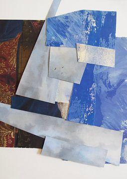Compositie in blauw en Bordeaux rood - quilt van Nop Briex