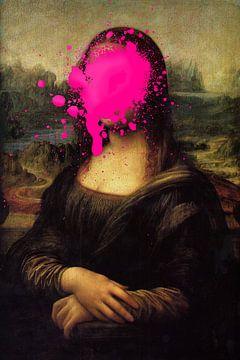 Mona Lisa met roze verfvlek