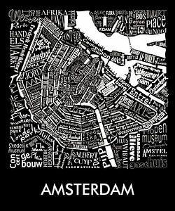 Amsterdam zwart- wit typografisch: Plattegrond met A'dam toren van Muurbabbels Typographic Design