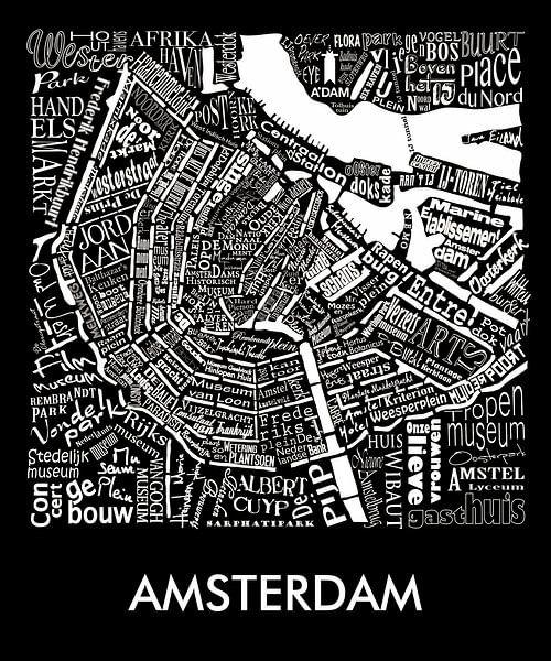 Amsterdam schwarz-weiß typografisch: Karte mit A'dam Turm sur Muurbabbels Typographic Design