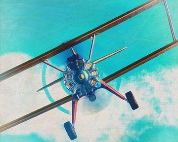 Peinture d'un Boeing Stearman Modèle 75 en vol sur Jan Keteleer