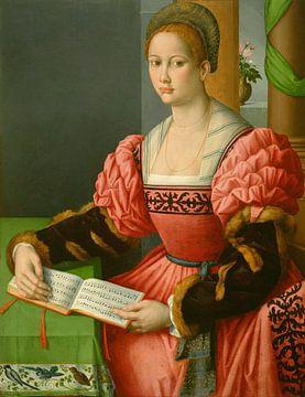 Porträt einer Frau mit einem Buch mit Musik, Bachiacca