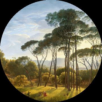 Italiaans landschap met parasoldennen, Hendrik Voogd, digitaal gerestaureerd van Lars van de Goor