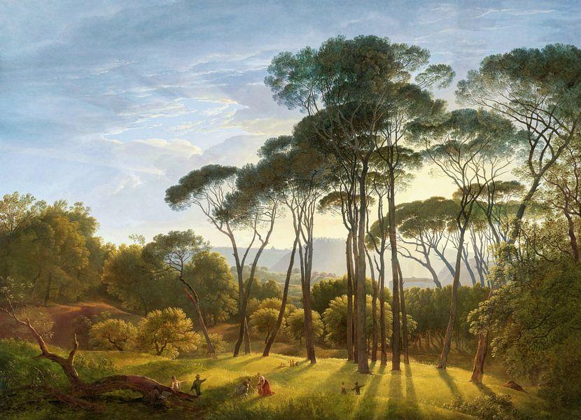 Italiaans landschap met parasoldennen, Hendrik Voogd, digitaal gerestaureerd