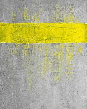 Yellow stripe grey abstract van Joske Kempink