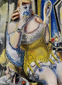 Hoer, zichzelf poederend, in een geel korset, PAUL KLEINSCHMIDT, 1938 van Atelier Liesjes