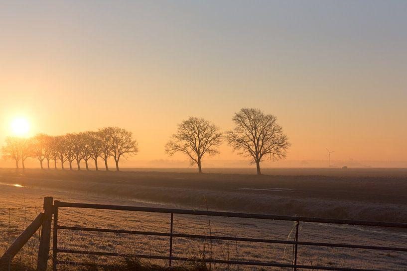 Zonsopkomst in een polderlandschap  van eric van der eijk