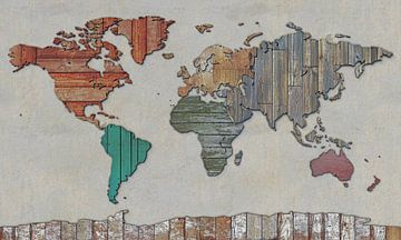 Wereldkaart in sloophout