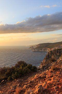 Zonsondergang aan de kust van het Griekse eiland Zakynthos van Matthijs de Rooij