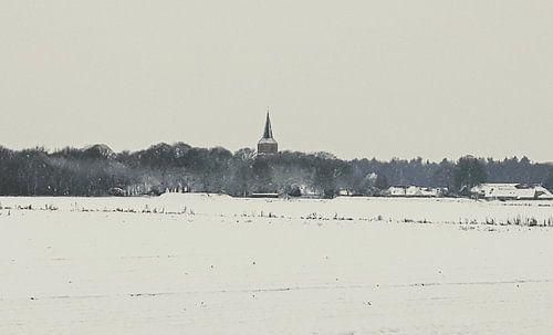Toren van Rolde in winterlandschap van 10a Boes