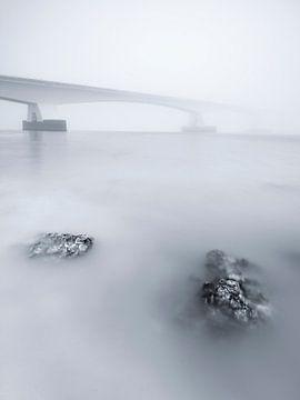Pont zélandais brumeux et atmosphérique sur