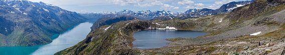 Groot panorama vanaf de Besseggen bergkam met  de meren Gjende en Bessvatnet in NP Jotunheimen, Noor van Martin Stevens