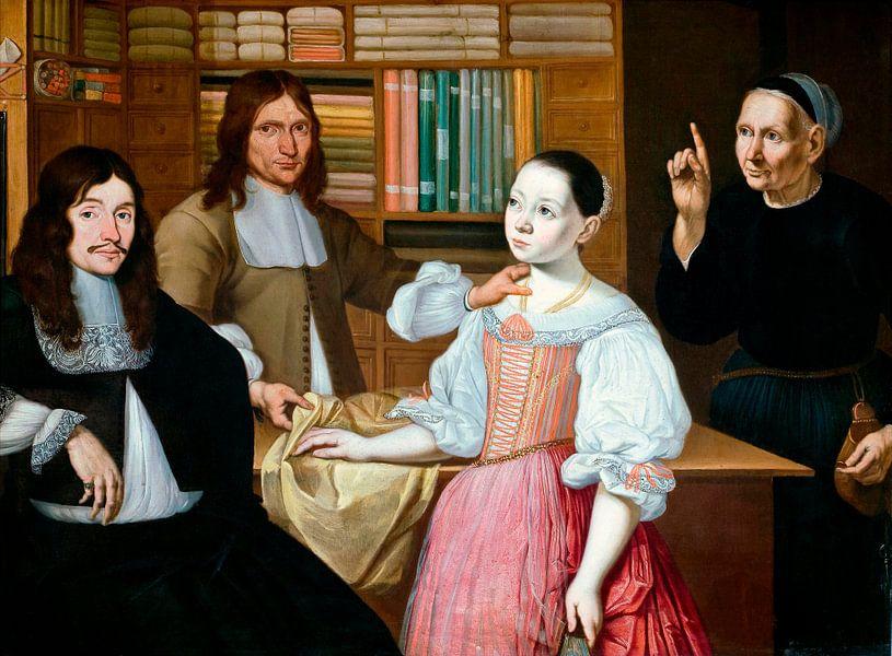 In der Draper's Shop, Adriaen Bloem, Adriaen van Ostade von Meesterlijcke Meesters