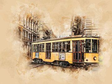 Historische Straßenbahn in Mailand von Peter Roder