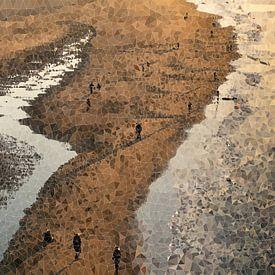 Wandelaars op het strand van Carla van Zomeren