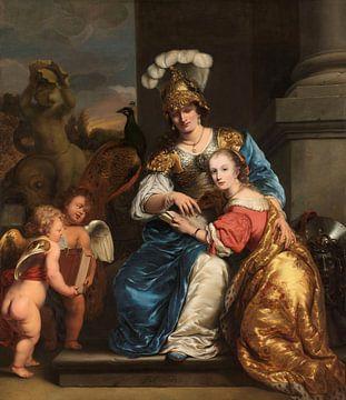 Margarita Trip die als Minerva haar zuster Anna Maria Trip onderwijst, Ferdinand Bol sur